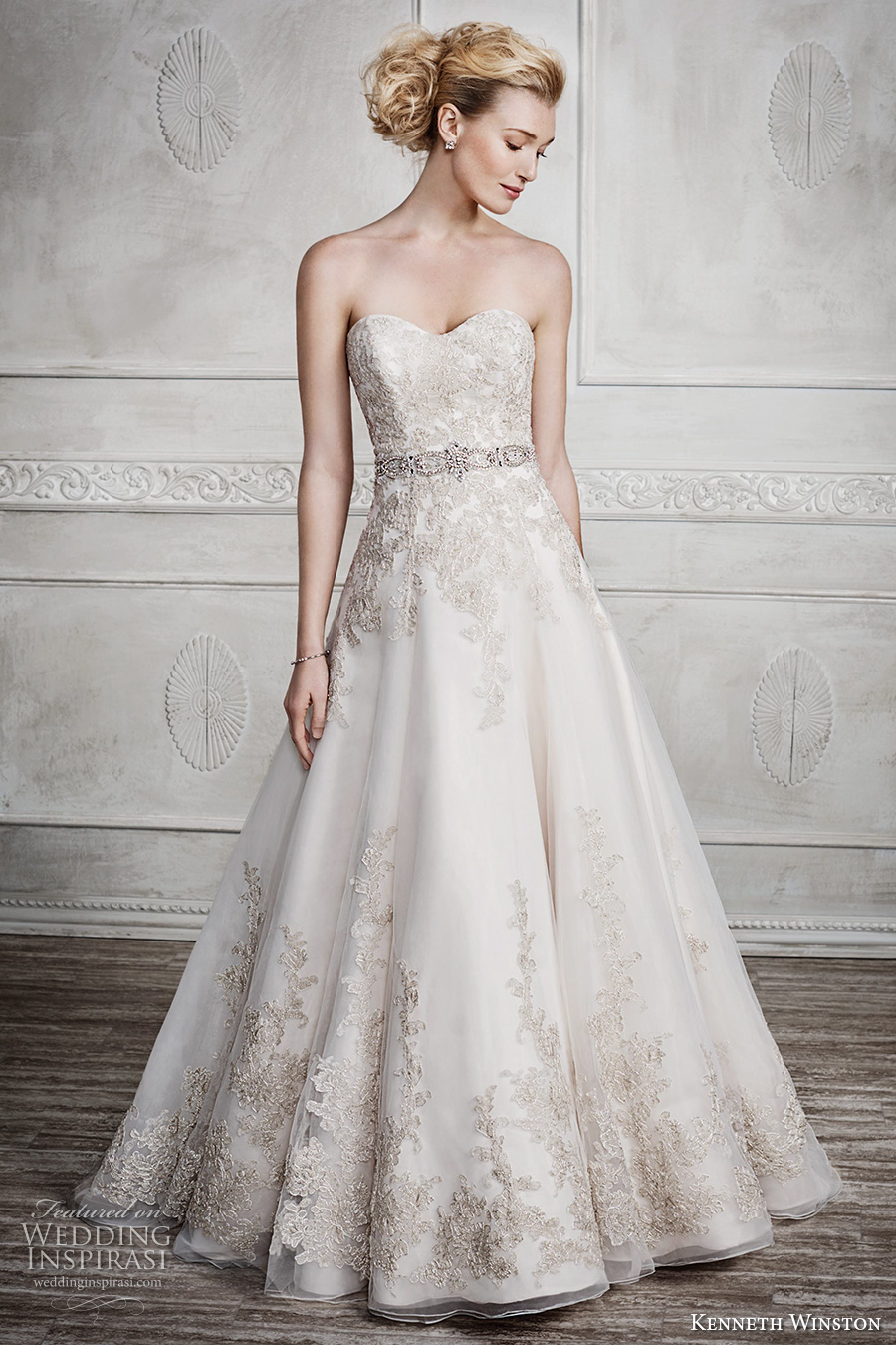 kenneth winston fall 2016 bridal strapless semi sweetheart neckline gold embroidery heavily embellished bodice gorgeous princess beautiful a line wedding dress chapel train (1669) mv