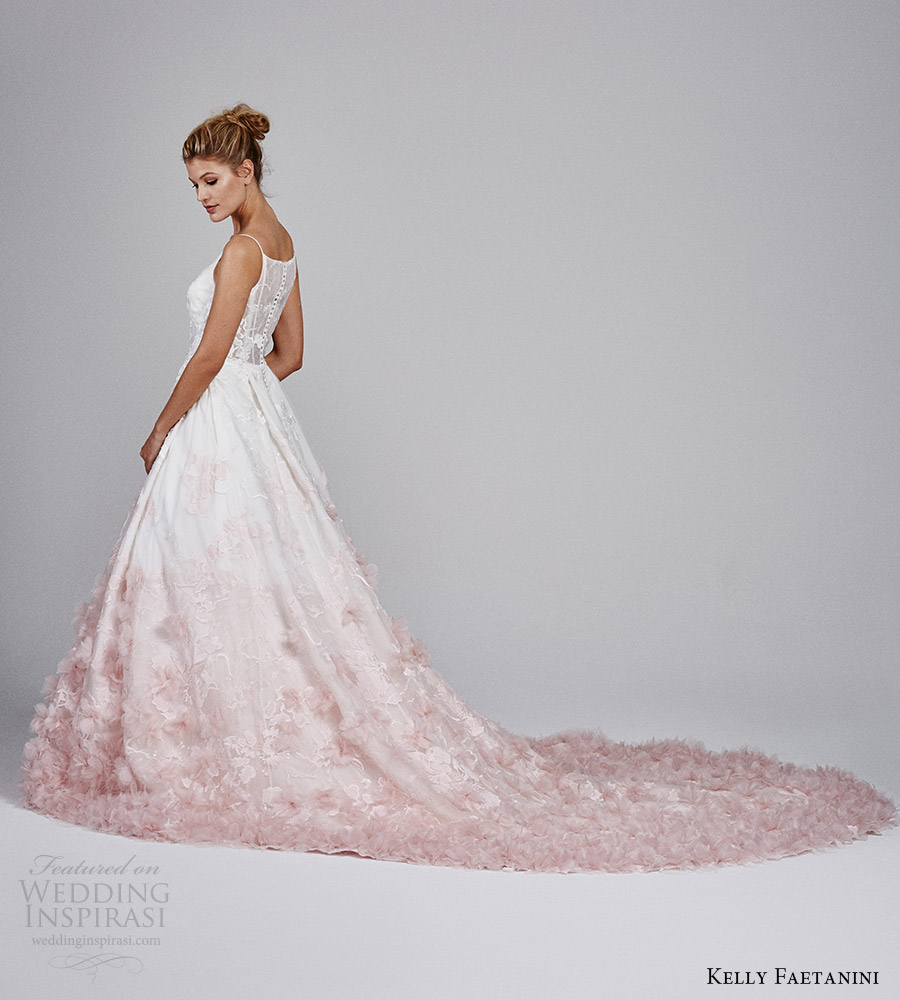kelly faetanini fall 2017 sleeveless vneck silk organz petal embellished skirt blush ombre ball gown wedding dress (willow) sv long train