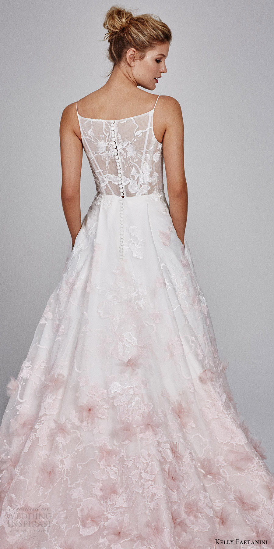 kelly faetanini fall 2017 sleeveless vneck silk organz petal embellished skirt blush ombre ball gown wedding dress (willow) zbv illusion back buttons