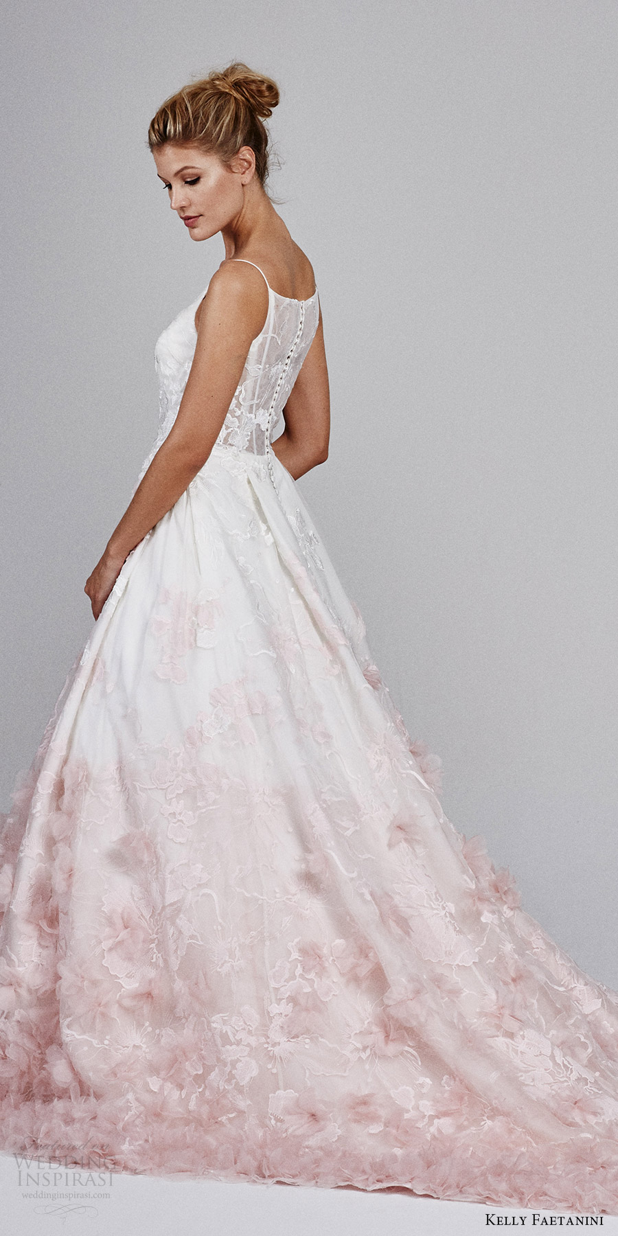 kelly faetanini fall 2017 sleeveless vneck silk organz petal embellished skirt blush ombre ball gown wedding dress (willow) zsv long train