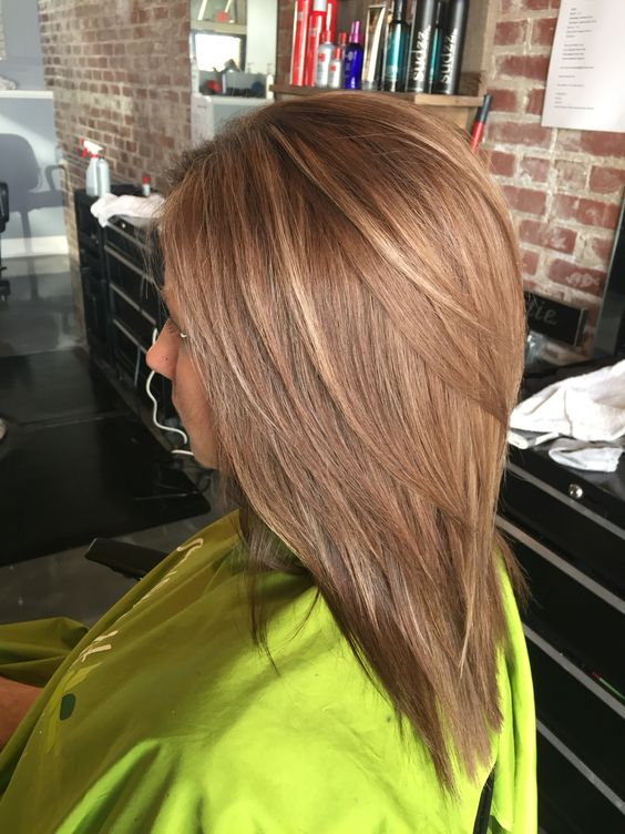 beautiful warm light brown all over with caramel lowlights and subtle light blonde highlights