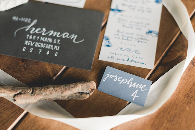 Blue watercolor Whaling Museum Massachusetts wedding invites | About Time Photography