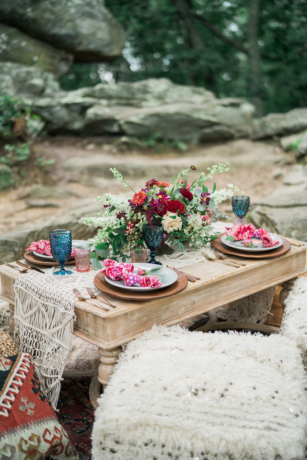 bohemian wedding table - http://ruffledblog.com/nomadic-cliffside-elopement-inspiration