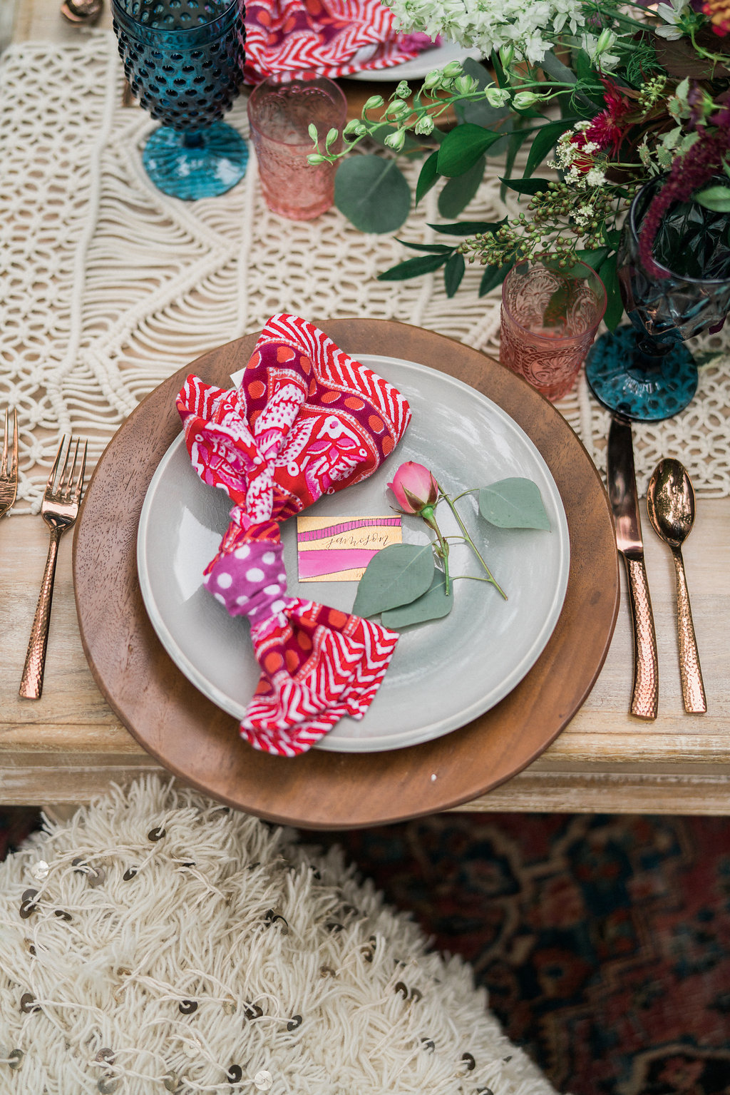 colorful place setting - http://ruffledblog.com/nomadic-cliffside-elopement-inspiration
