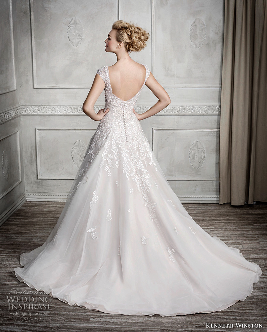 kenneth winston fall 2016 bridal cap sleeves v neck heavily embellished bodice romantic princess a line wedding dress scoop back sweep train (1679) bv