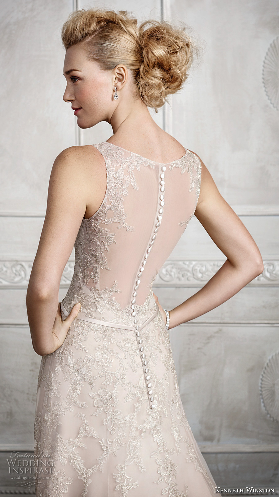 kenneth winston fall 2016 bridal sleeveless illusion boat v neckline heavily embellished bodice beautiful princess gold color a line wedding dress illusion back chapel train (1665) zbv