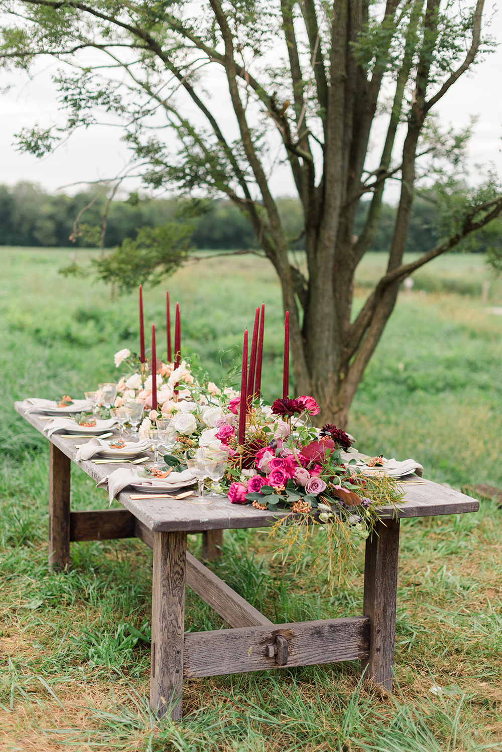 fall wedding table - photo by Christa Breaugh Photography http://ruffledblog.com/early-fall-wedding-ideas