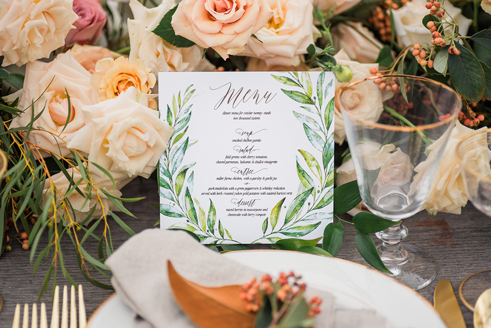 wedding paper goods - photo by Christa Breaugh Photography http://ruffledblog.com/early-fall-wedding-ideas