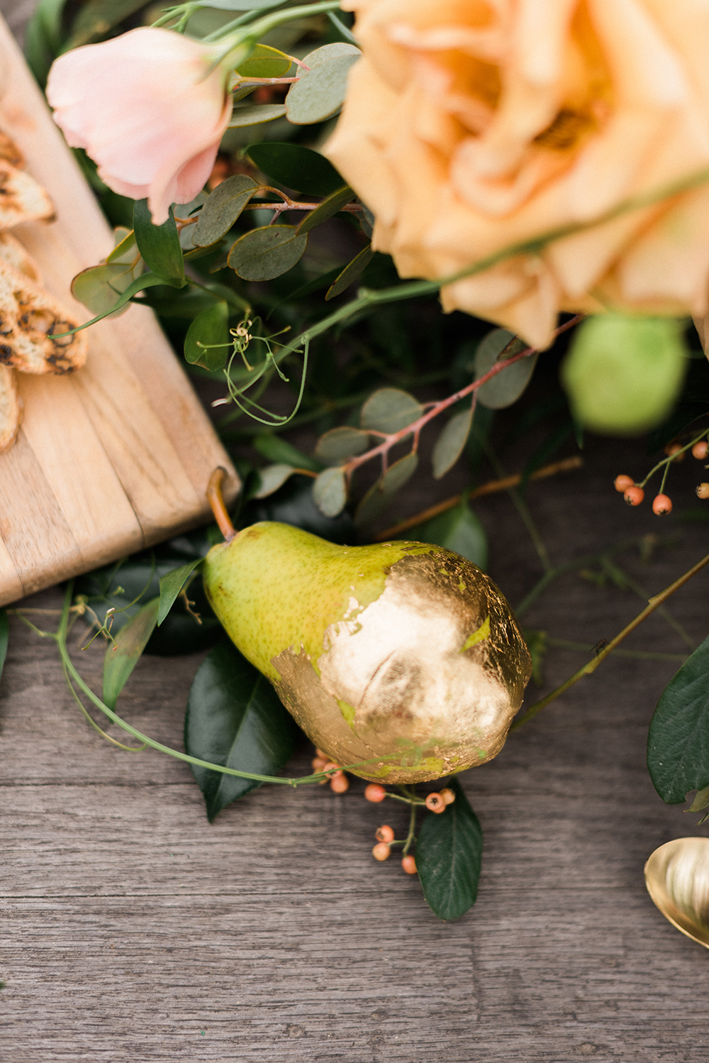 gold foil fruits - photo by Christa Breaugh Photography http://ruffledblog.com/early-fall-wedding-ideas