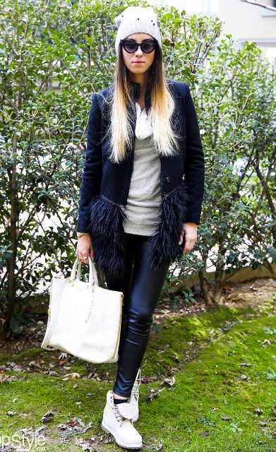 With long blazer, leather pants and white bag