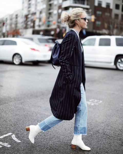 With midi striped coat, crop jeans and backpack