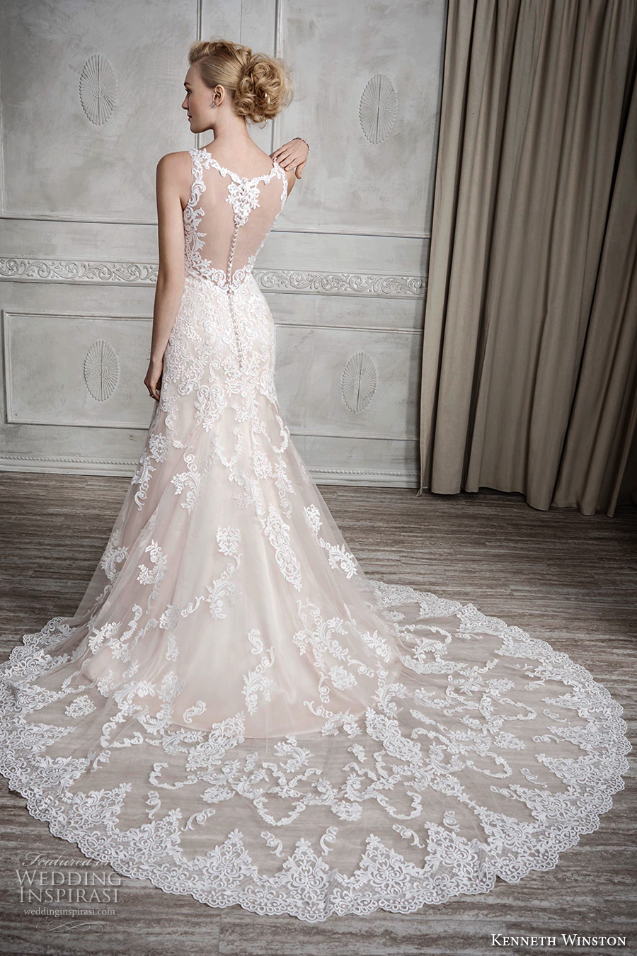 kenneth winston fall 2016 bridal sleeveless strap v neck full embellishment elegant fit and flare a line wedding dress illusion back chapel train (1678) bv