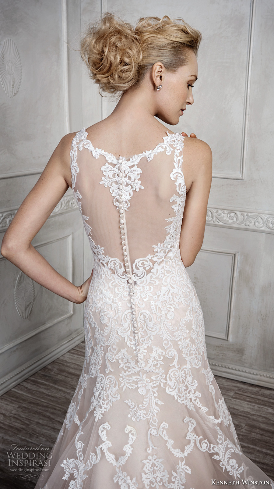kenneth winston fall 2016 bridal sleeveless strap v neck full embellishment elegant fit and flare a line wedding dress illusion back chapel train (1678) zbv