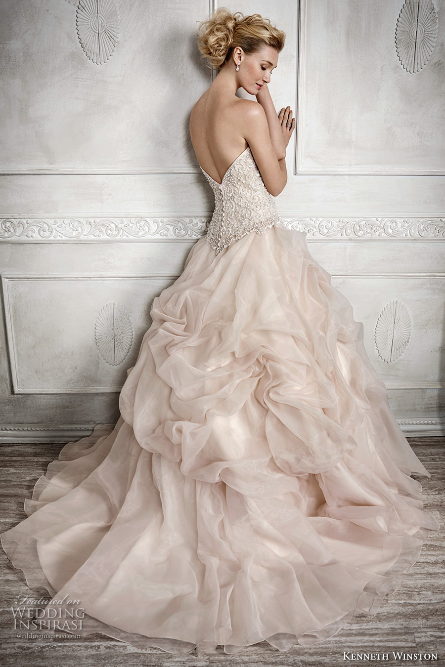 kenneth winston fall 2016 bridal strapless sweetheart neckline heavily embellished bodice gathered ball gown princess blush color a line wedding dress chapel train (1680) bv