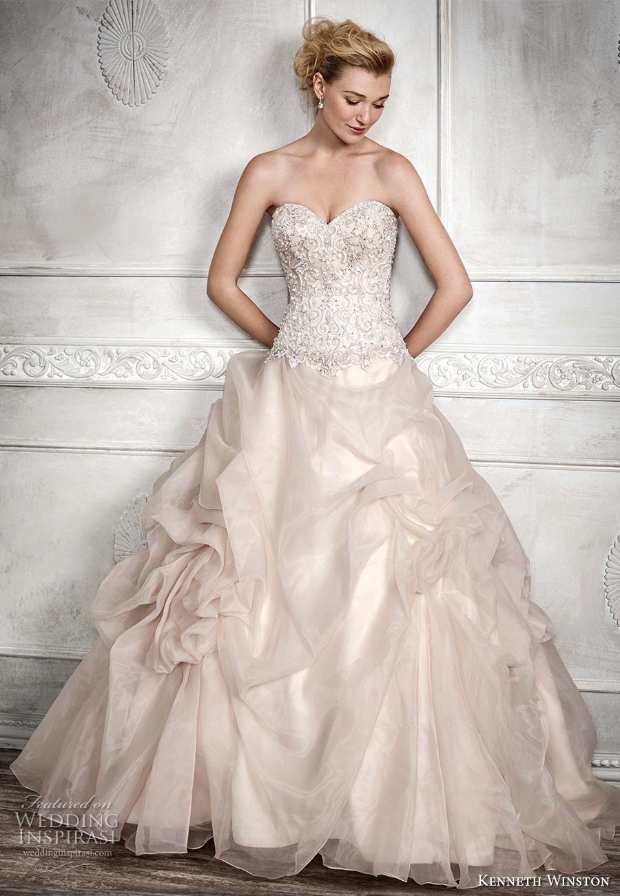 kenneth winston fall 2016 bridal strapless sweetheart neckline heavily embellished bodice gathered ball gown princess blush color a line wedding dress chapel train (1680) mv