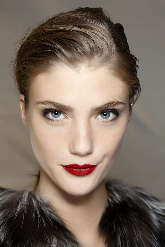 sexy red lips with a pale complexion