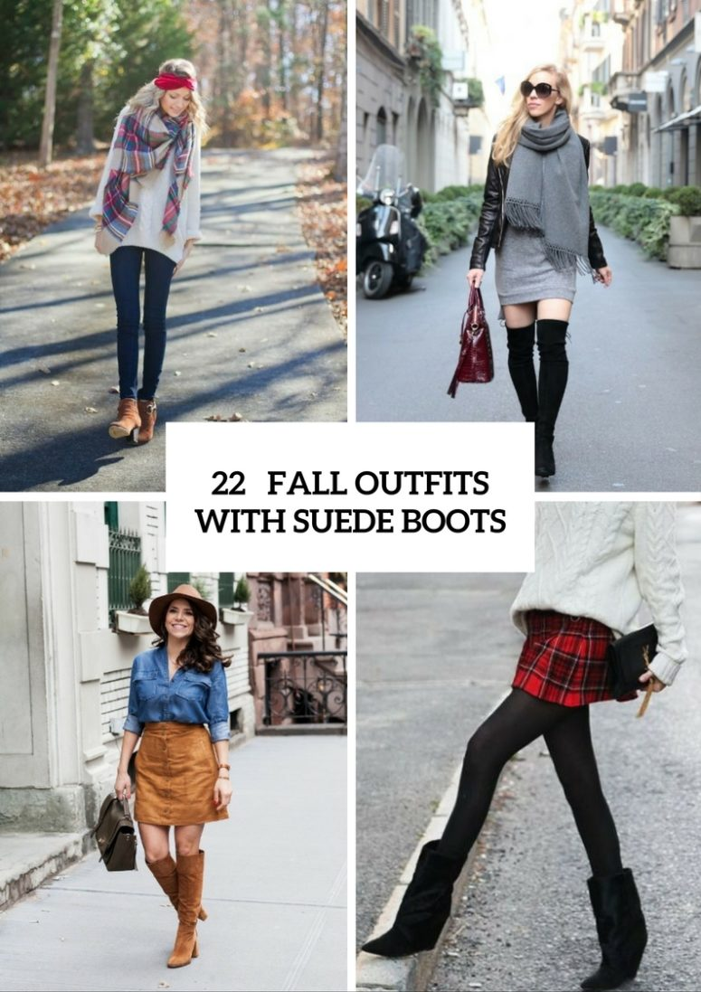 Stylish Outfits With Suede Boots For Fall And Winter