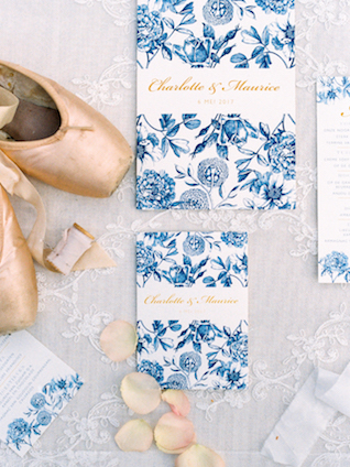 Blue toile and ballet wedding invitations | Chymo & More