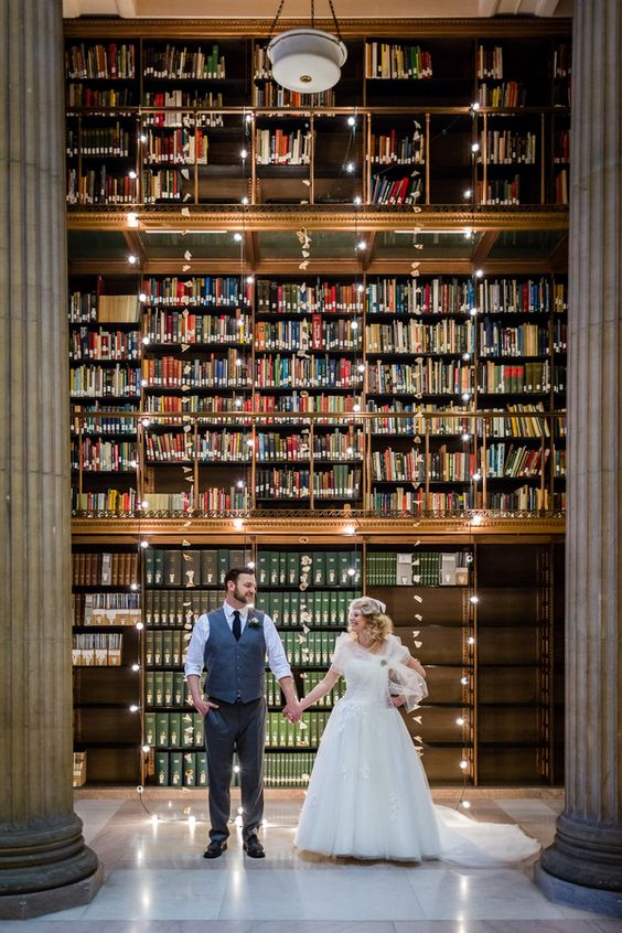 modern lit library as a wedding venue