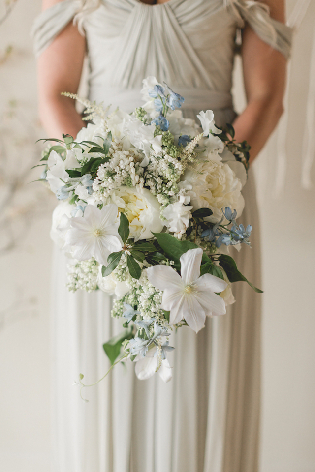 Powder blue and white bridal bouquet | About Time Photography
