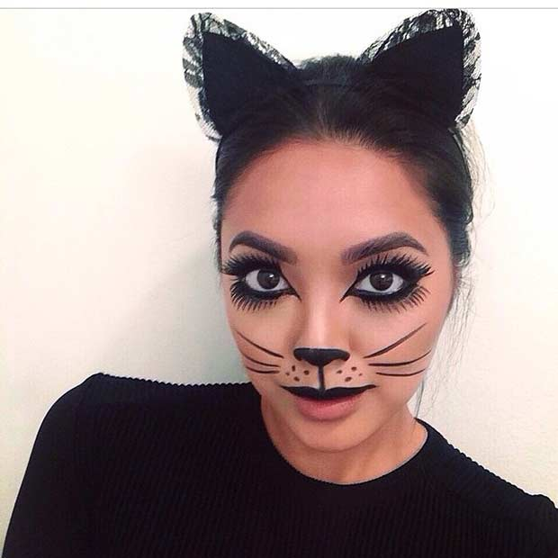Cute Kitty Halloween Makeup Look