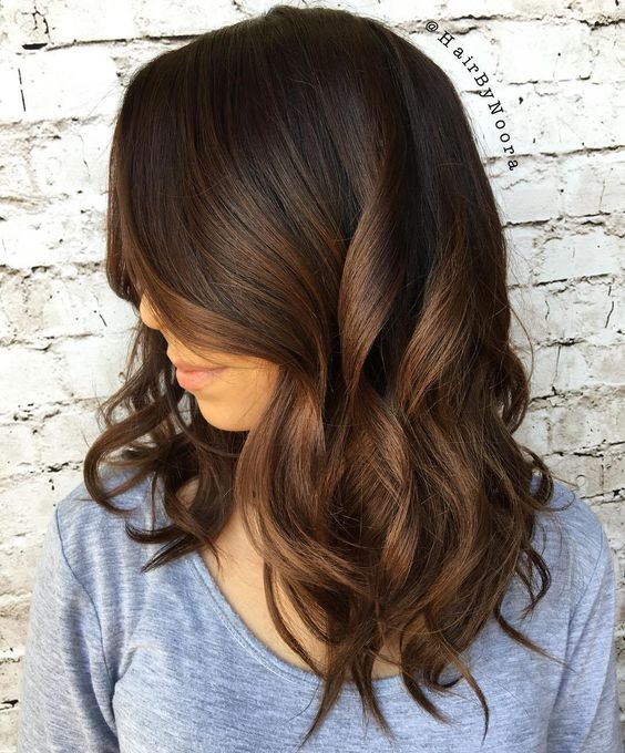 ombre hair from dark bown to light brown and chocolate