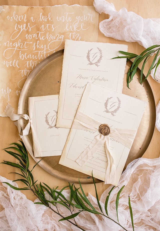 Organic, tea-stained wedding invitations | Wild & Grace