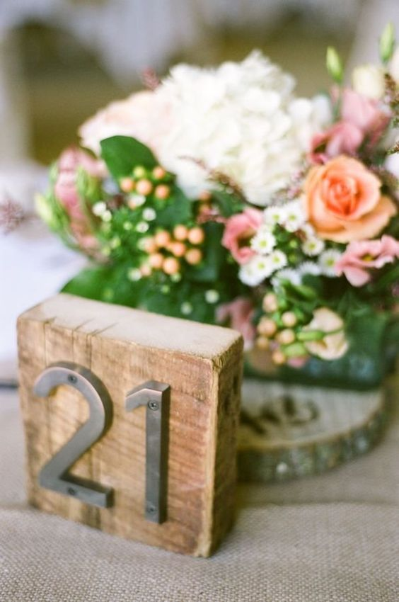 rustic industrial table number with metal numbers
