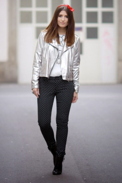 With polka dot trousers, t-shirt and ankle boots