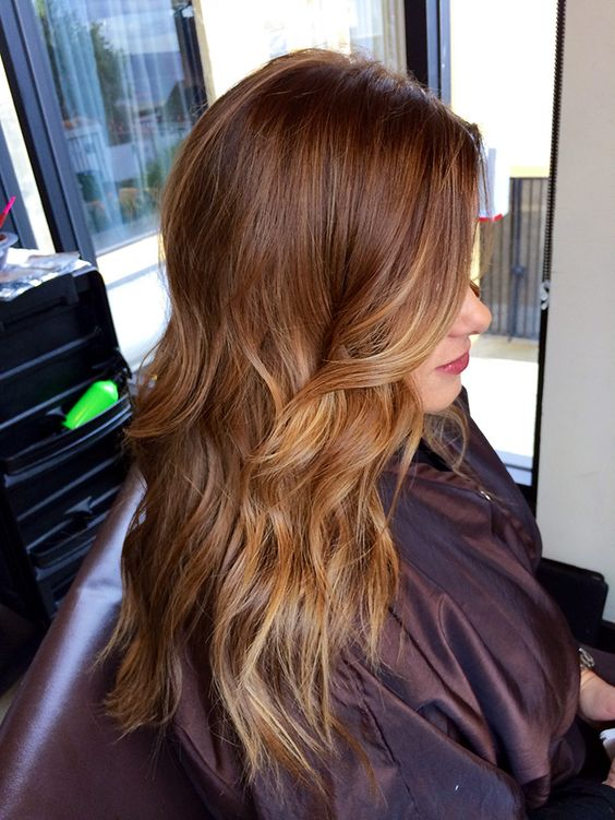 chestnut hair with lighter honey tones to frame the face