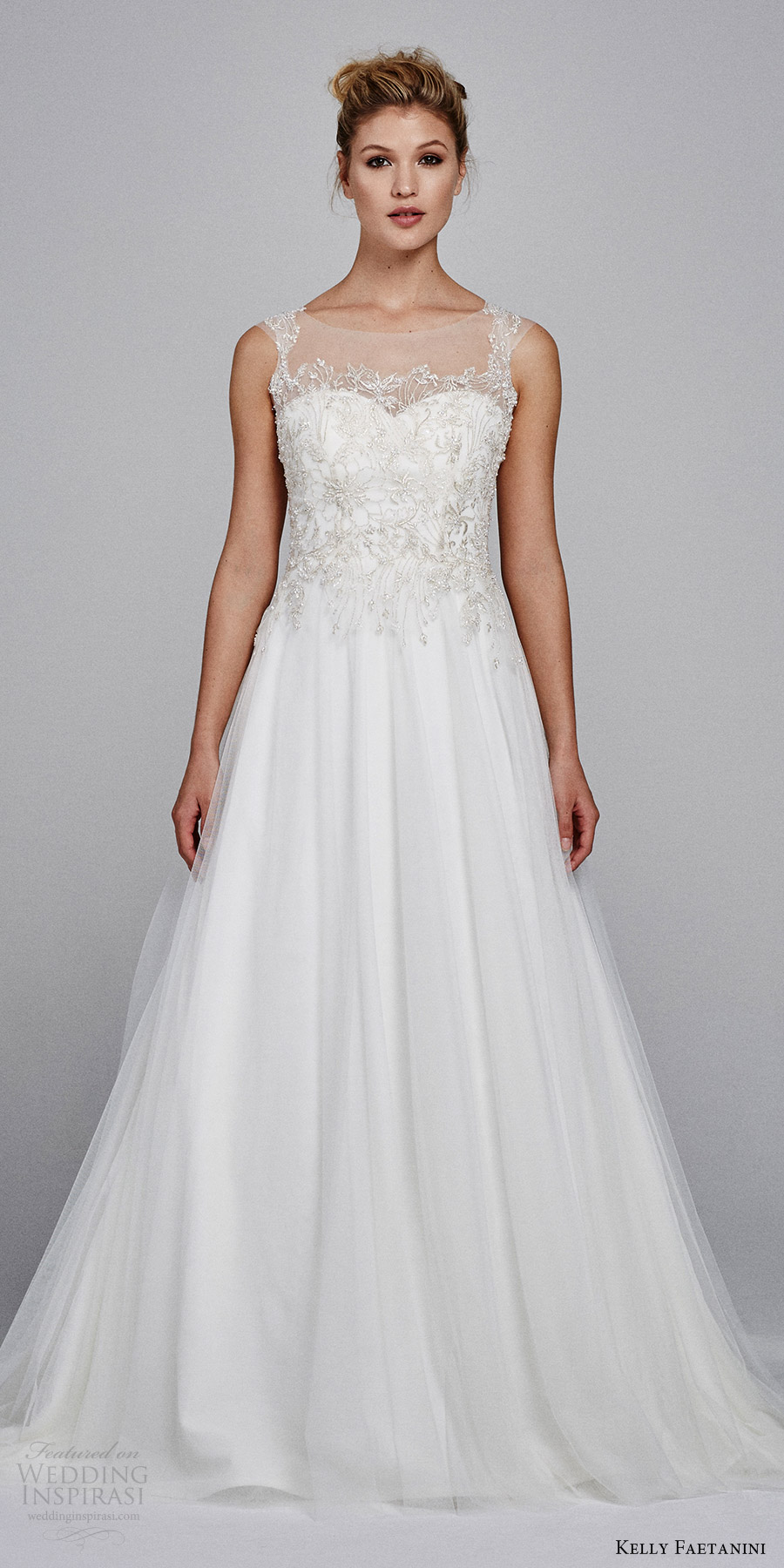 kelly faetanini bridal fall 2017 sleeveless illusion jewel sweetheart tulle embroidery aline wedding dress (marigold) mv