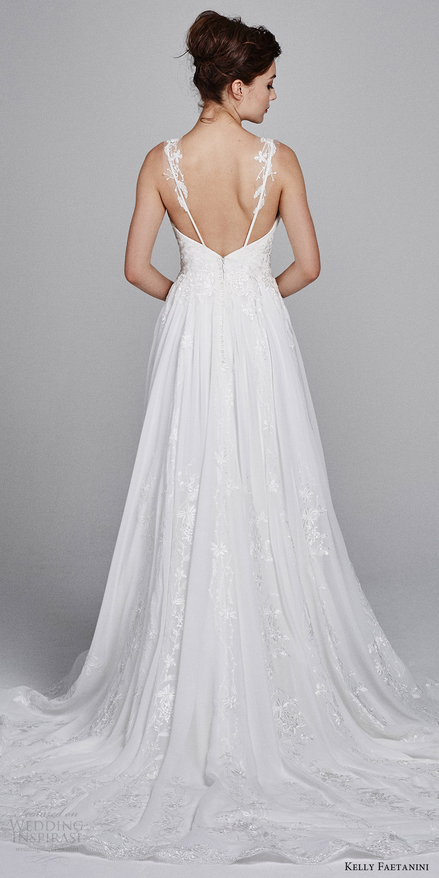 kelly faetanini bridal fall 2017 sleeveless illusion straps vneck aline wedding dress (poppy) bv train