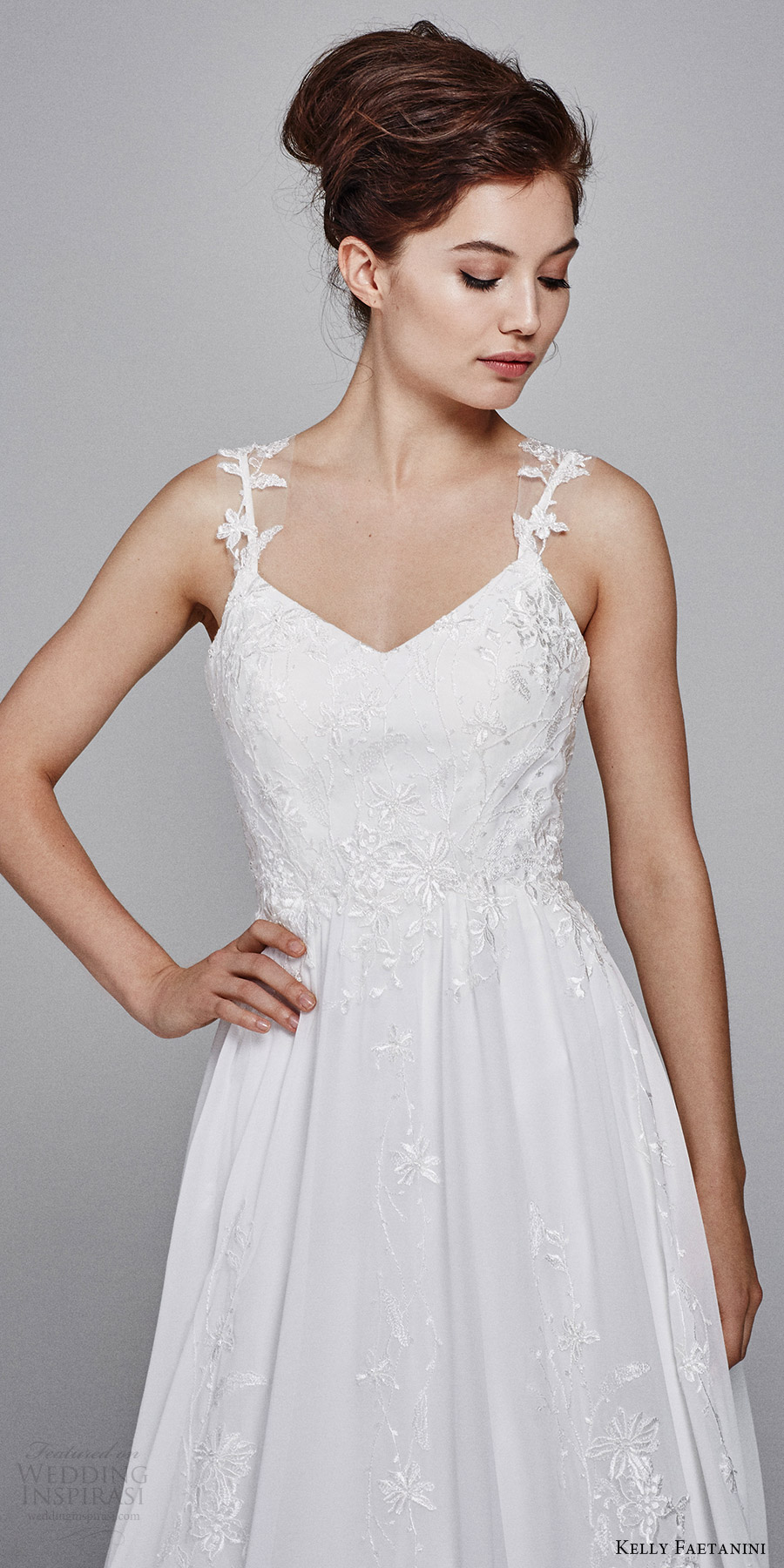 kelly faetanini bridal fall 2017 sleeveless illusion straps vneck aline wedding dress (poppy) zfv