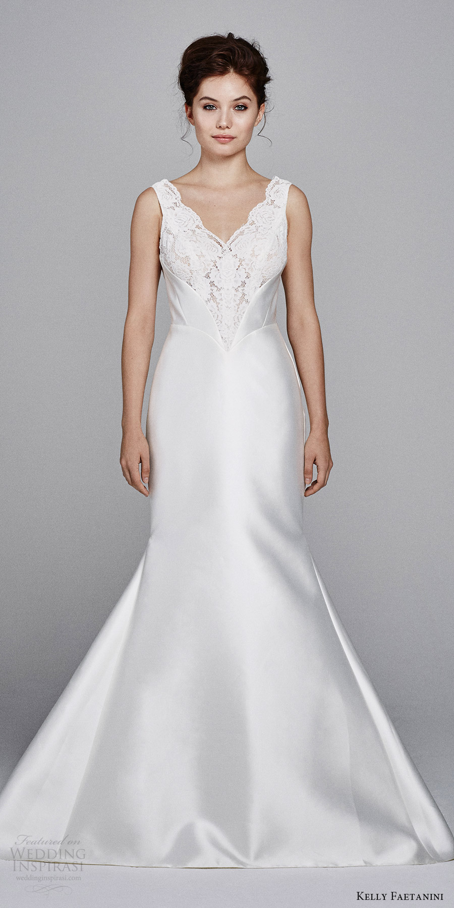 kelly faetanini bridal fall 2017 sleeveless vneck mikado alencon lace bodice trumpet wedding dress (lotus) mv train