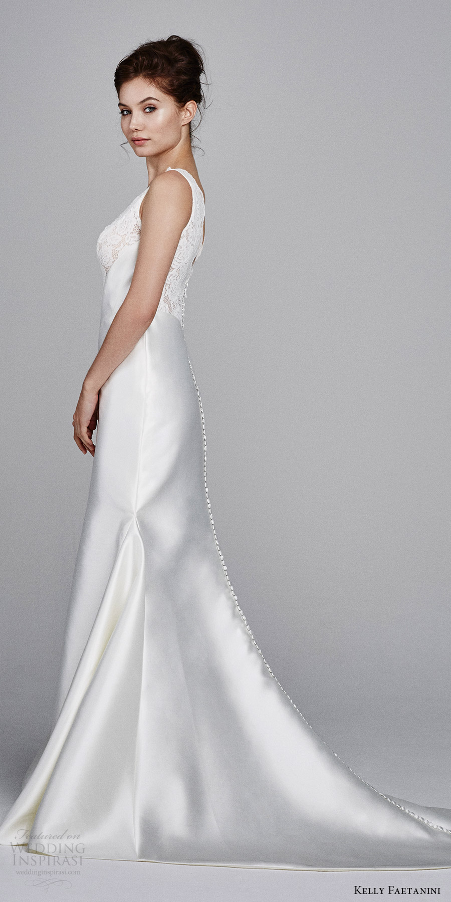 kelly faetanini bridal fall 2017 sleeveless vneck mikado alencon lace bodice trumpet wedding dress (lotus) sv button train