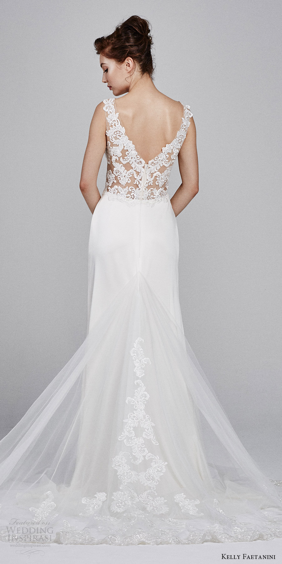 kelly faetanini bridal fall 2017 sleeveless vneck stretch satin lace bodice aline wedding dress (leilani) bv vback train
