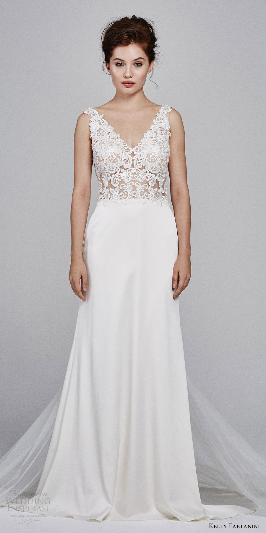 kelly faetanini bridal fall 2017 sleeveless vneck stretch satin lace bodice aline wedding dress (leilani) mv train