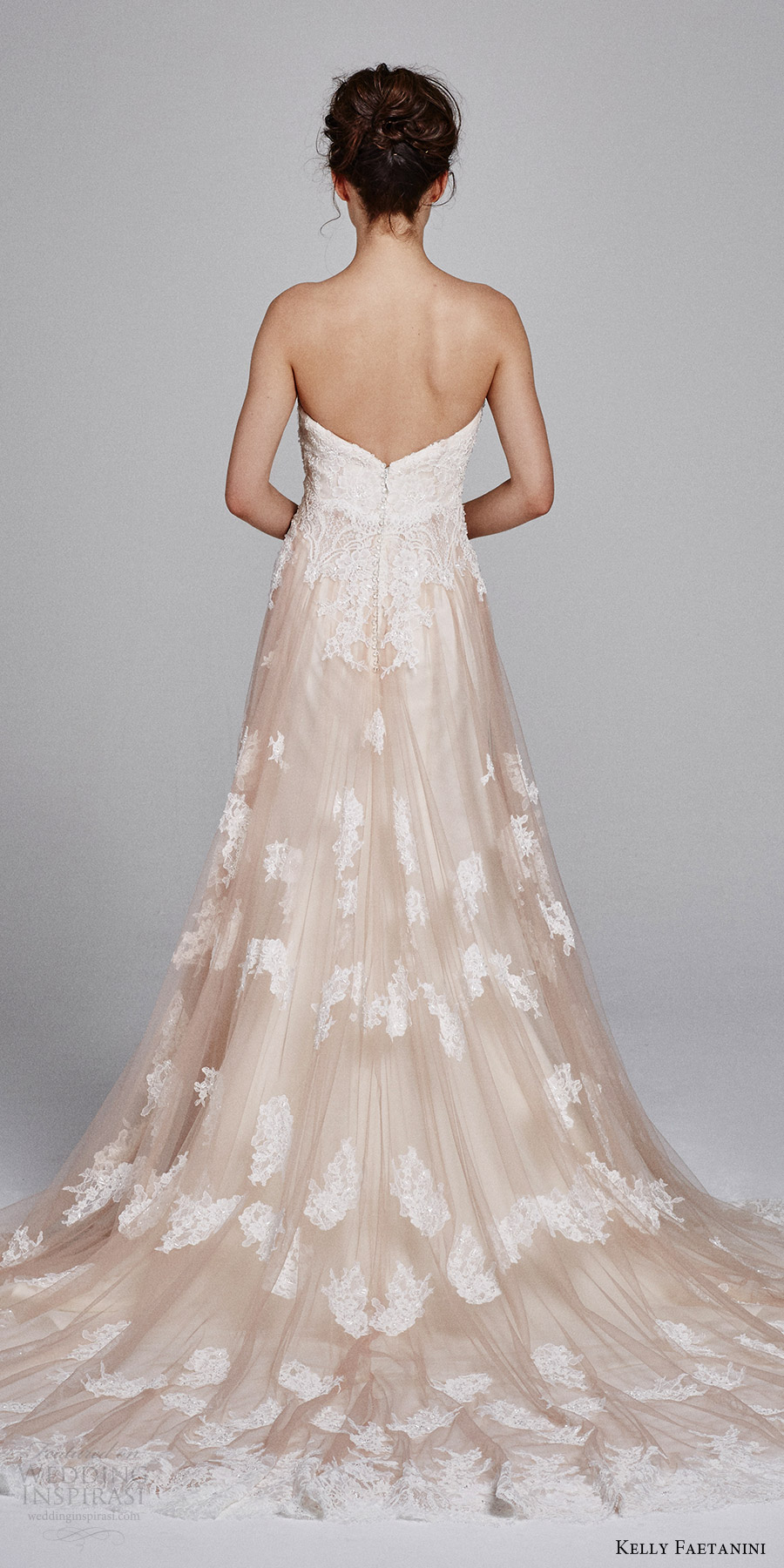 kelly faetanini bridal fall 2017 strapless sweetheart aline lace wedding dress (laurel) bv blush train