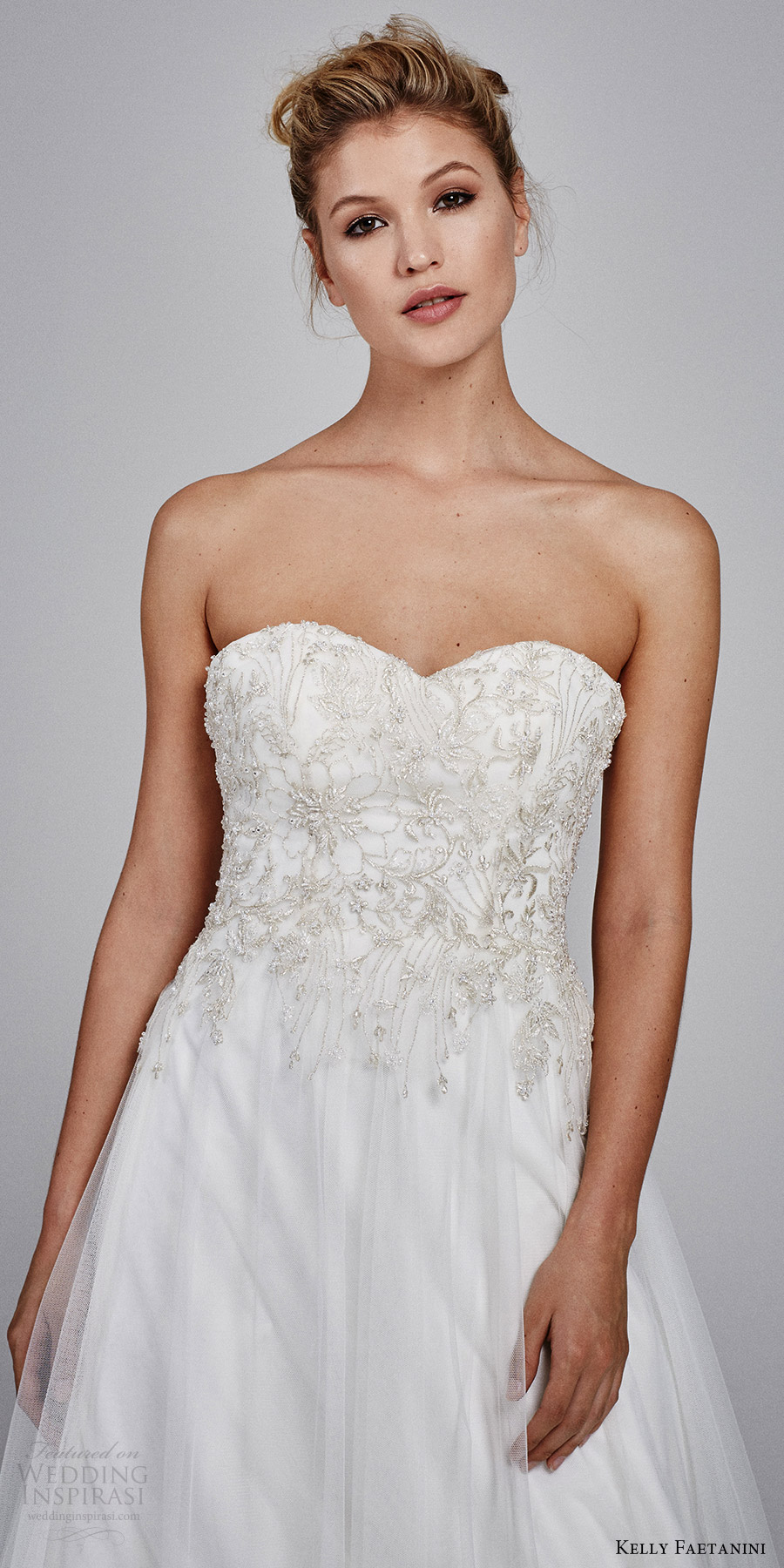kelly faetanini bridal fall 2017 strapless sweetheart tulle embroidery aline wedding dress (marigold strapless) mv