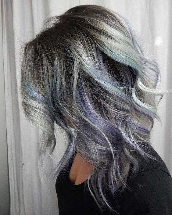 grey hair with black lowlights and purple and turquoise highlights
