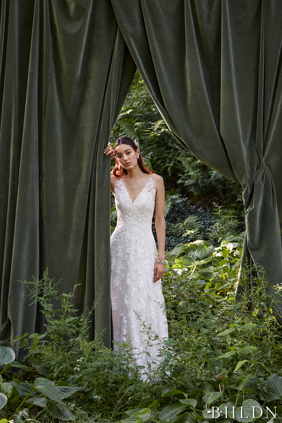 bhldn fall 2016 bridal sleeveless lace strap v neck full embellishment romantic classic beautiful a line wedding dress sheer low back sweep train (blaire gown) mv
