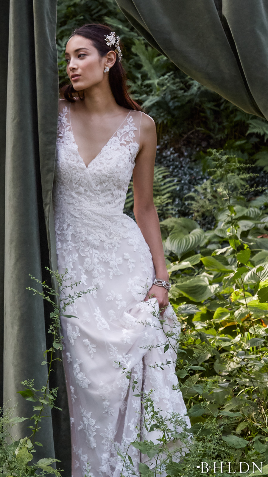 bhldn fall 2016 bridal sleeveless lace strap v neck full embellishment romantic classic beautiful a line wedding dress sheer low back sweep train (blaire gown) zv