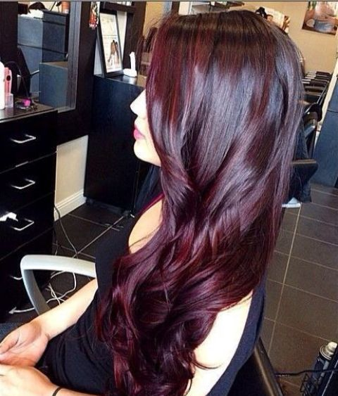 bold black cherry hair looks cool both on long and short hair