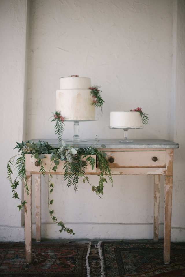 Vintage dresser with foliage drawer as a cake display | Lauren Carroll Photography