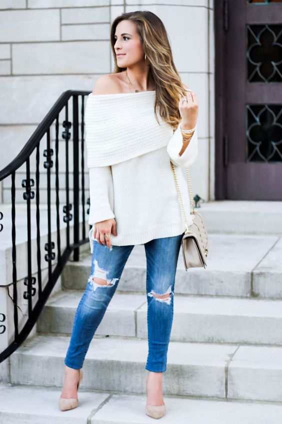 knit off the shoulder, ripped blue jeans and nude heels