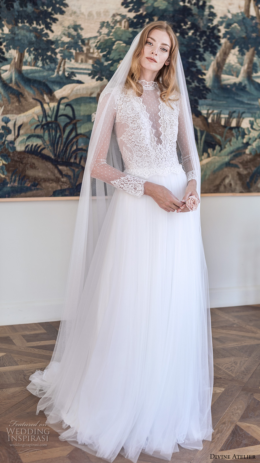 divine atelier 2017 bridal long sleeves illusion round high neck v neck heavily embellished bodice tulle skirt romantic a line wedding dress sweep train (unnamed07) mv