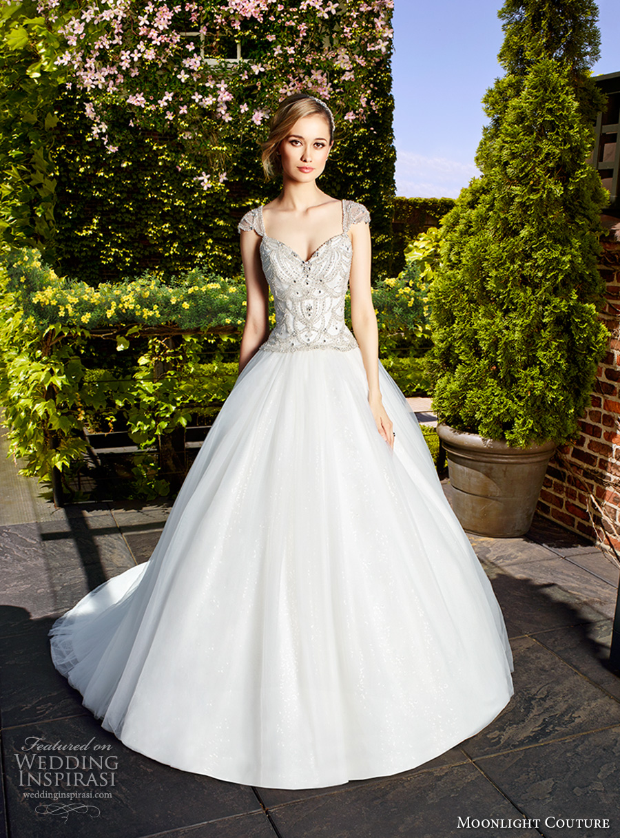 moonlight couture spring 2017 bridal cap sleeves sweetheat neckline heavily embellished bodice glamorous romantic a line wedding dress chapel train (h1328) mv