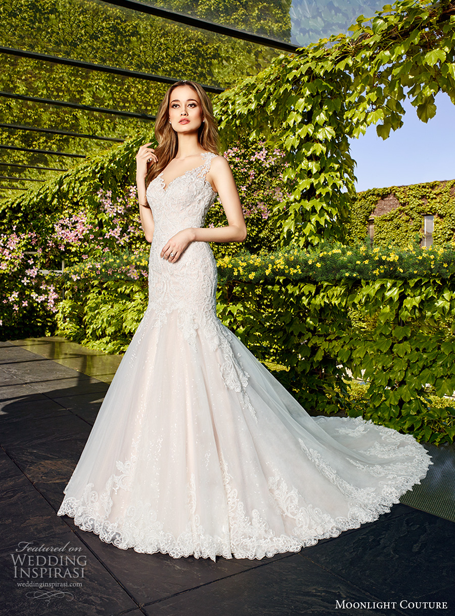 moonlight couture spring 2017 bridal thick strap sweetheart neckline heavily embellished bodice elegant mermaid wedding dress illusion back chapel train (h1326) mv