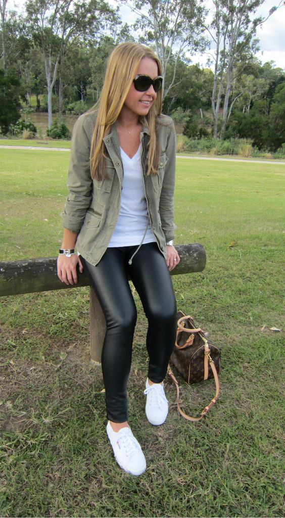 leather leggings, a khaki field jacket and white sneakers for a casual look