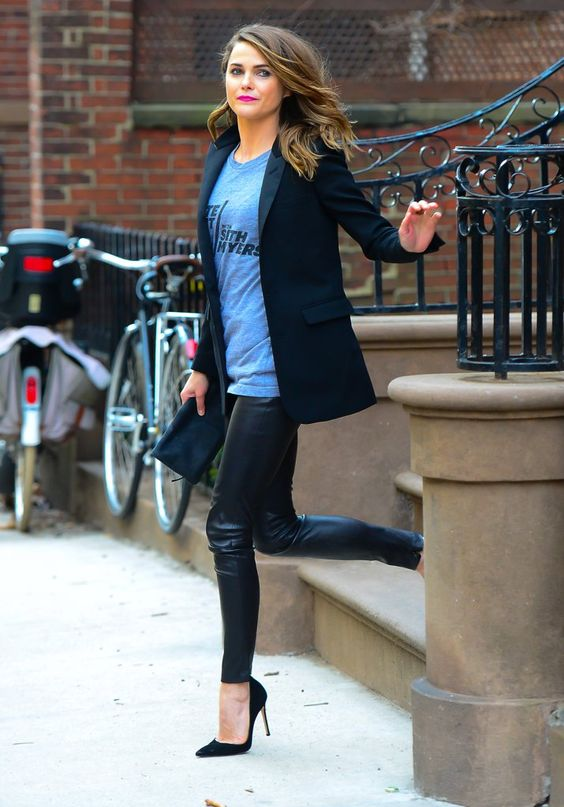 leather leggings, a printed tee, a black jacket and suede heels